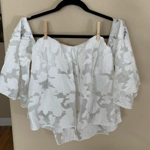 Off The Shoulder White Lace Crop Top